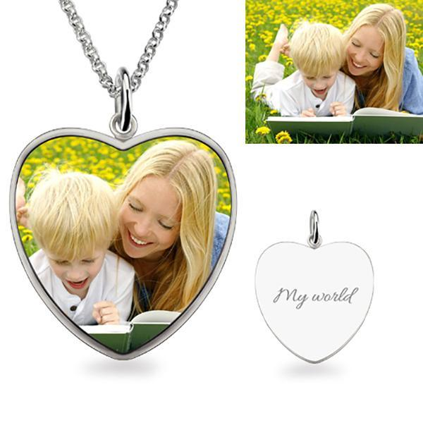Heart Engraved Color Photo Necklace Sterling Silver